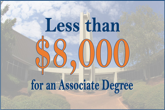 Less than $8,000 for an Associate Degree