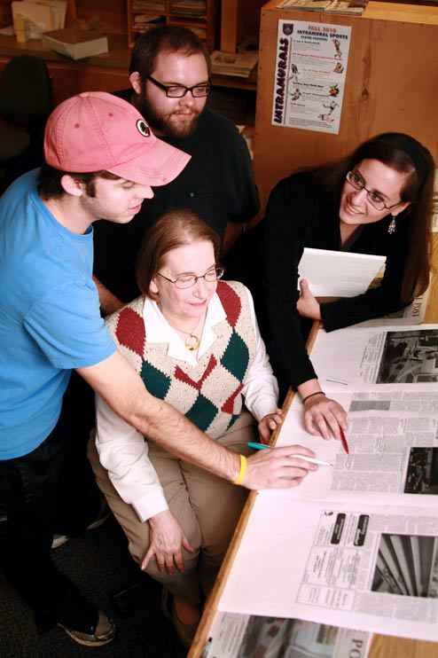 Image of a group of students at work on the school newspaper