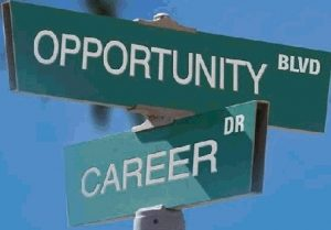 Street sign with Opportunity Blvd and Career intersecting