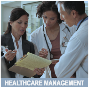 Image of a health care manager holding a clipboard speaking with a doctor and a nurse