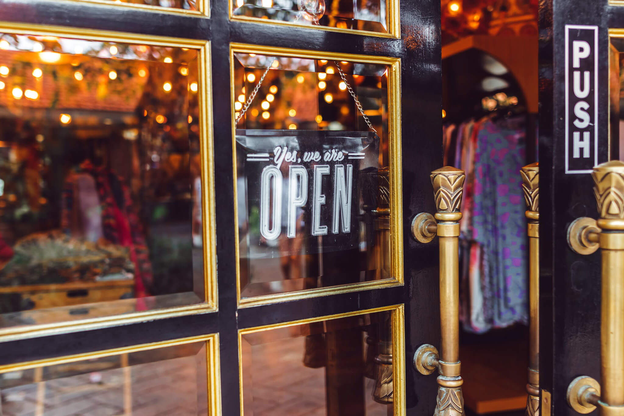 Shop with open sign