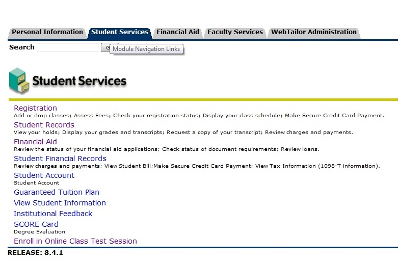 Student service registation page with