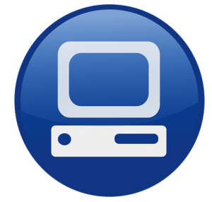 computer icon with computer graphic in a blue circle