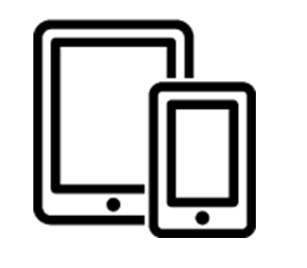 moble device icon with graphic of a tablet and cellphone