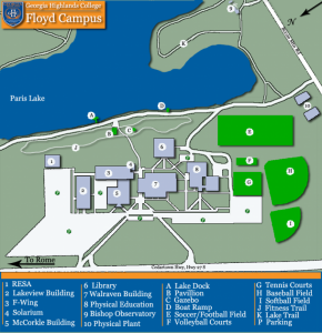 Complex map showing Floyd Campus. For assistance, call 706-802-5000