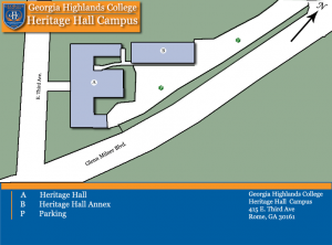 Complex map showing Heritage Hall. For assistance, call 706-295-6321