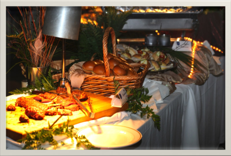 food on a banquet table
