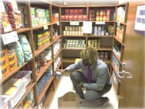 student working in food pantry