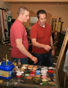painting instruction using an easel