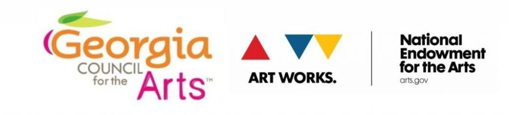 Georgia Council for the Arts logo, Art Works logo, National Endowment for the Arts logo