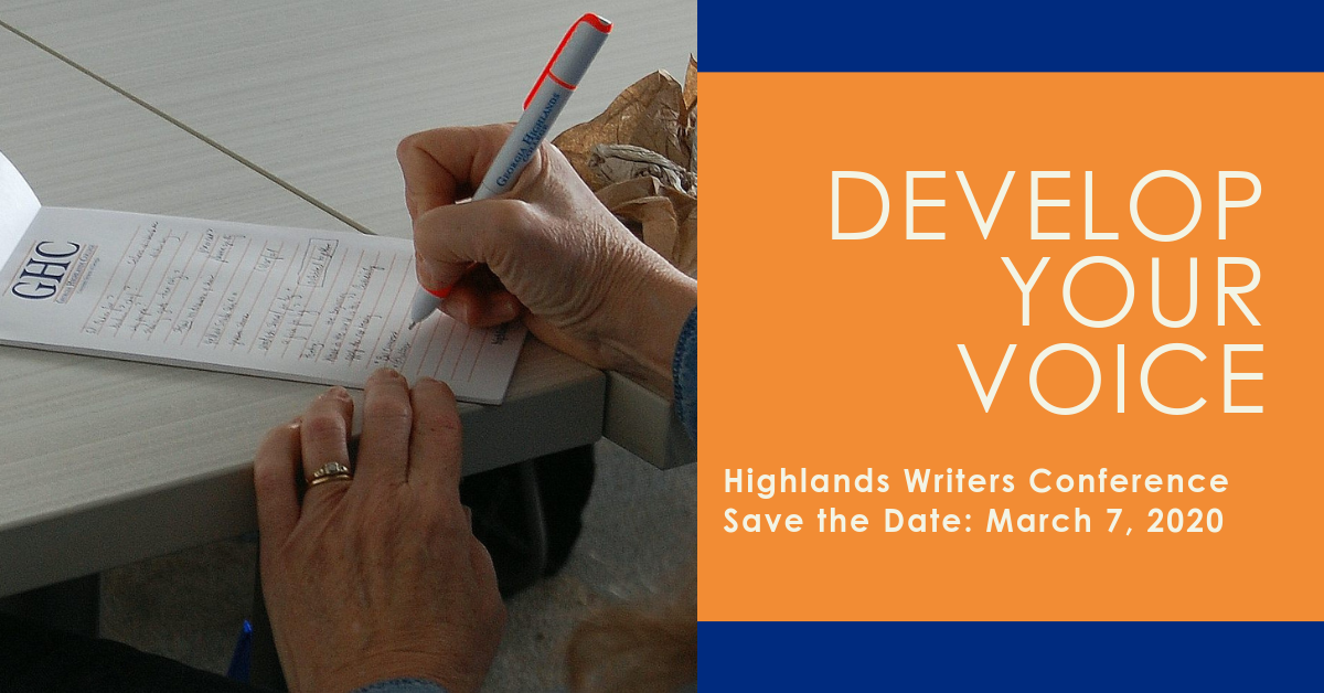 Develop Your Voice Highlands Writers Conference Save the Date: March 7, 2020