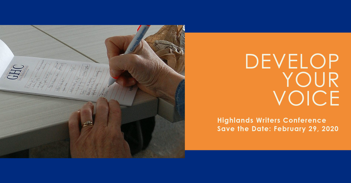 Develop Your Voice Highlands Writers Conference Save the Date: February 29, 2020