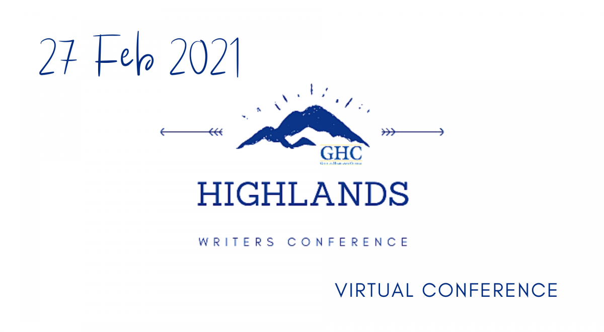Highlands Writers Conference logo: blue mountains with GHC in front, and date: 27 Feb 2021 virtual conference