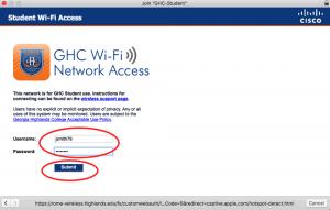 student wifi access login screen