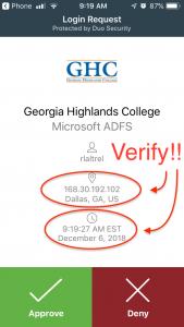 verification screen