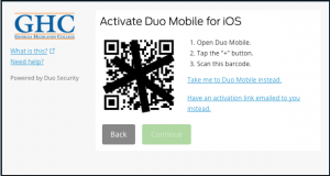 Duo Activation with QR Code screen