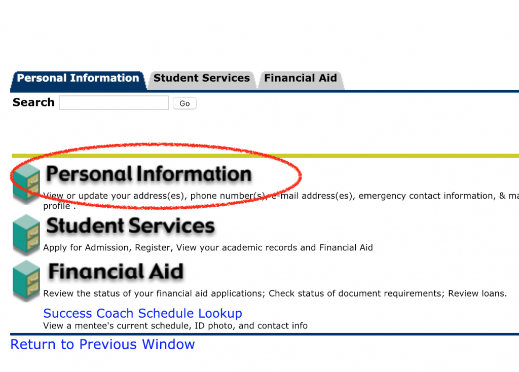 select personal information link