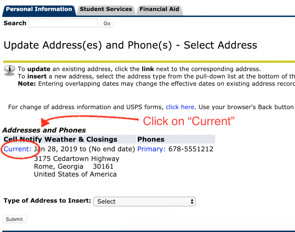 Click on current under the cell notify column