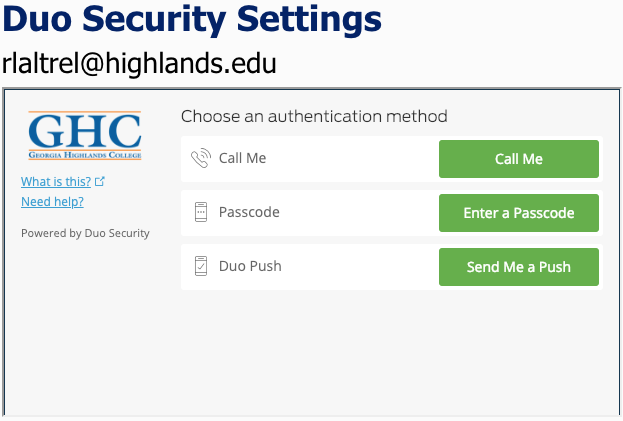 authentication method screen
