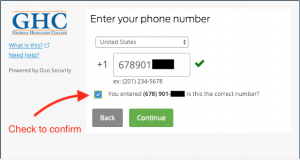 Phone input screen. Check the checkbox to confirm entry. Press continue.