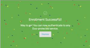 enrollment successful screen