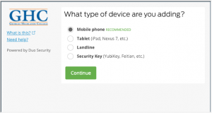 Device type selection screen