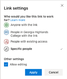 OneDrive allows you to restrict sharing links to specific individual(s).