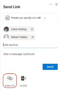 The Copy Link option in the Send Link menu .