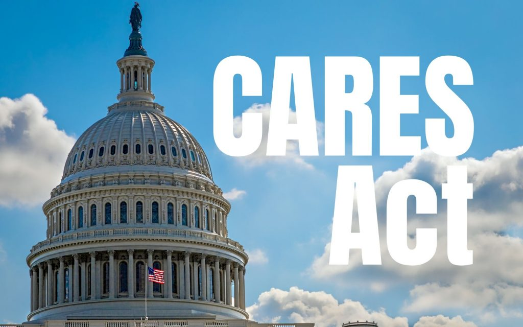 Cares Act with Capitol building