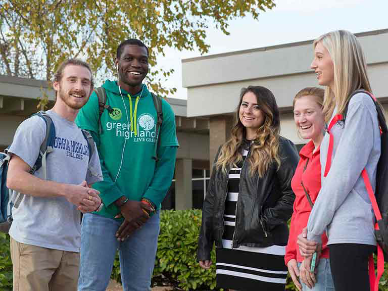 GHC Students Gathered Outside on Floyd Campus