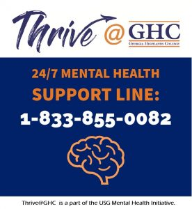 Thrive @ GHC. 24/7 mental health support line: 1-833-855-0082