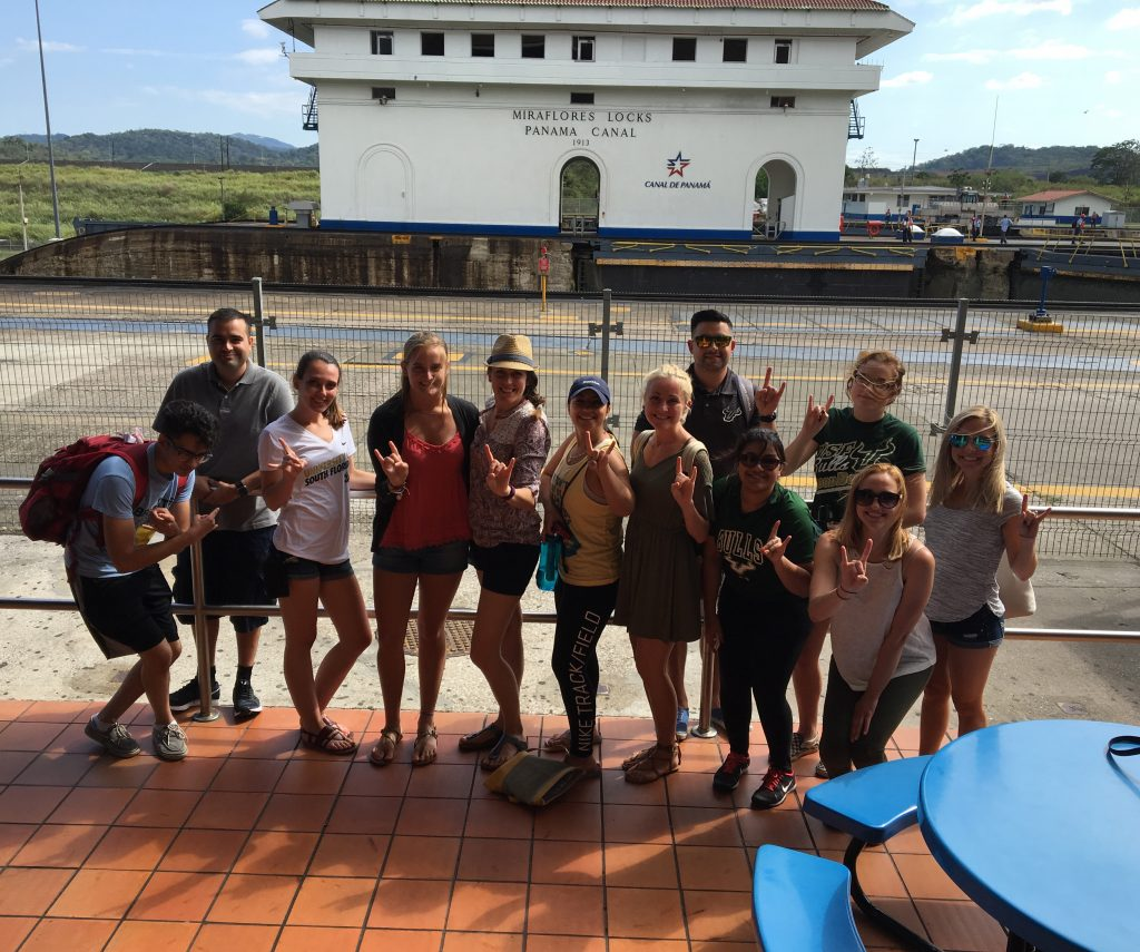 students in front of panama canal