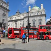 Famous red double-decker bus in London