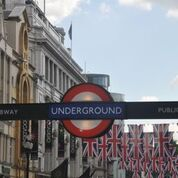 "Entrance to the famous underground or ""tube"" in London"