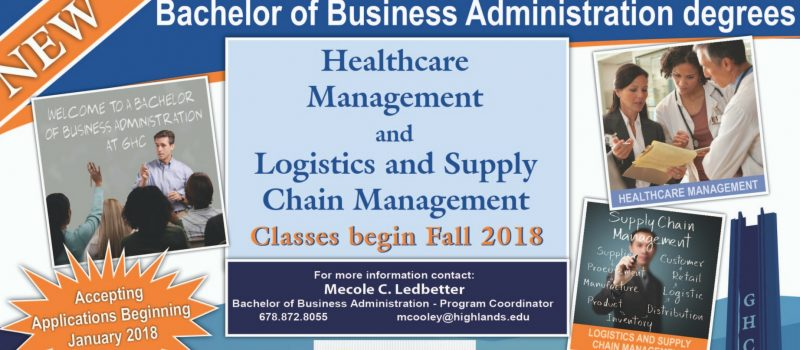 Bachelor of Business Administration Degrees. Healthcare management and logistics and supply chain management.