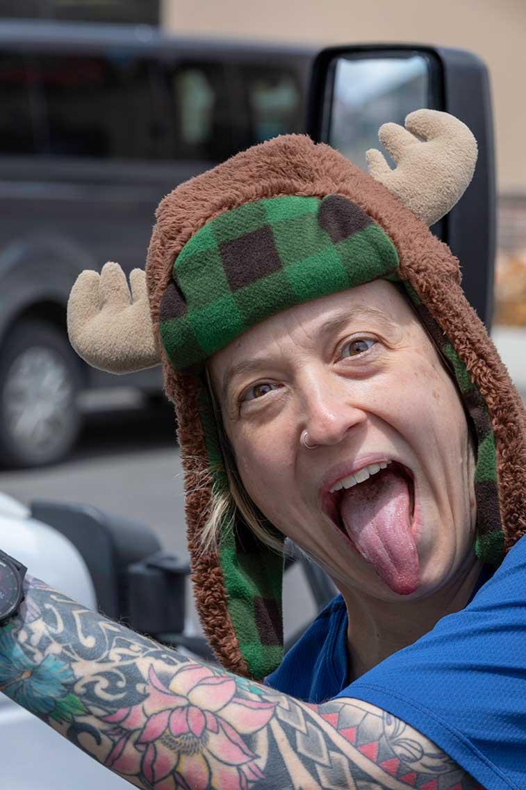 Student in moose cap
