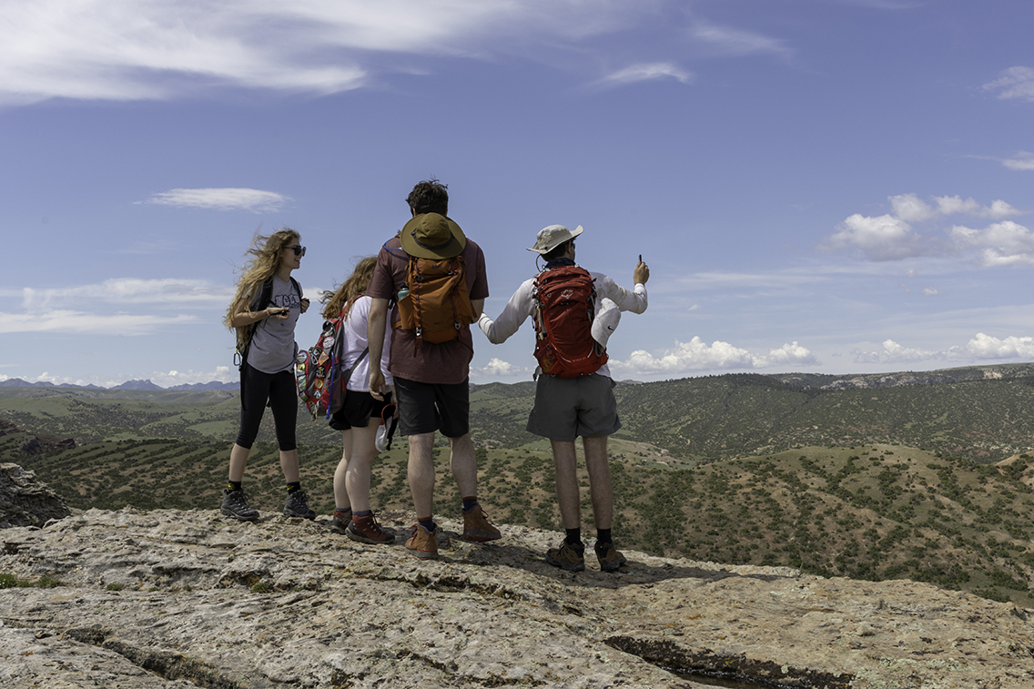 Students on top of a hill in Casper, Wyoming